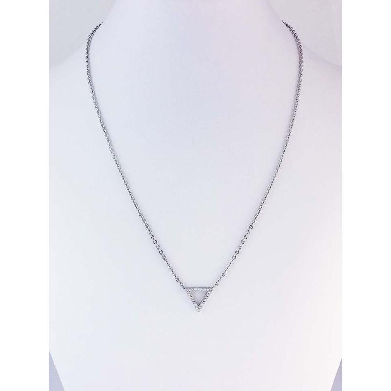 Collier Acier avec petit triancgle en zirconium