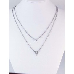 Double Necklace with little triangle et zirconium