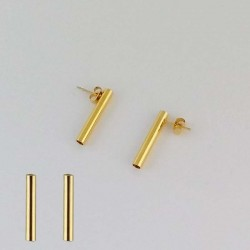 Golden Stainless Tube Earring