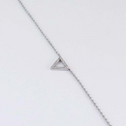 Steel Bracelet with triangle pattern cubic zirconia