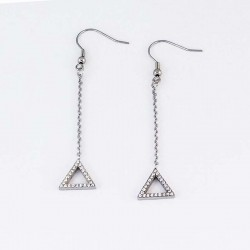 Tirangle Cubic Zirconia Steel Earring