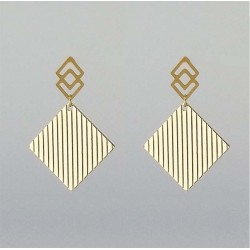 Golden Grooved rhombus pattern steel earring