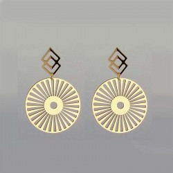 Golden Openwork round pattern steel earring