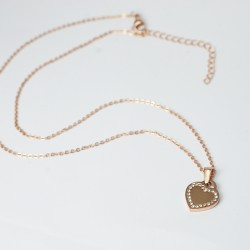 ROSE-GOLD STEEL NECKLACE CZ HEART