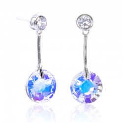 SILVER HANGING EARRING WHITE CRYSTAL ROUND