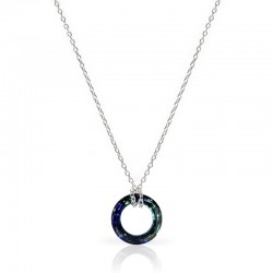 SILVER NECKLACE CRYSTAL ROUND (2 couleurs)