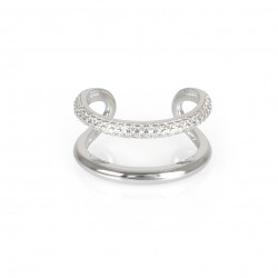 SILVER OPEN RING CZ