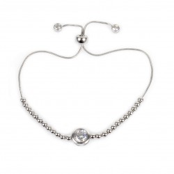 SILVER BRACELET CZ CLOSED SETTING WITH RED STRING