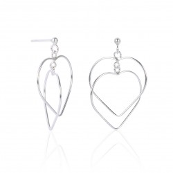 MASSIVE SILVER HANGING EARRING DOUBLE HEART