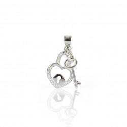 SILVER PENDANT CZ HEART WITH KEY
