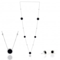 STAINLESS STEEL LONG NECKLACE AND EARRING CZ BLACK ROUND DISCS