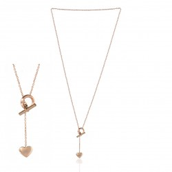 ROSY STAINLESS STEEL TIE NECKLACE HEART