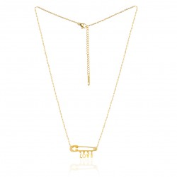 GOLDEN STAINLESS STEEL NECKLACE SAFETY PIN LOVE