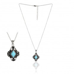 STAINLESS STEEL NECKLACE TURQUOISE LOZENGE