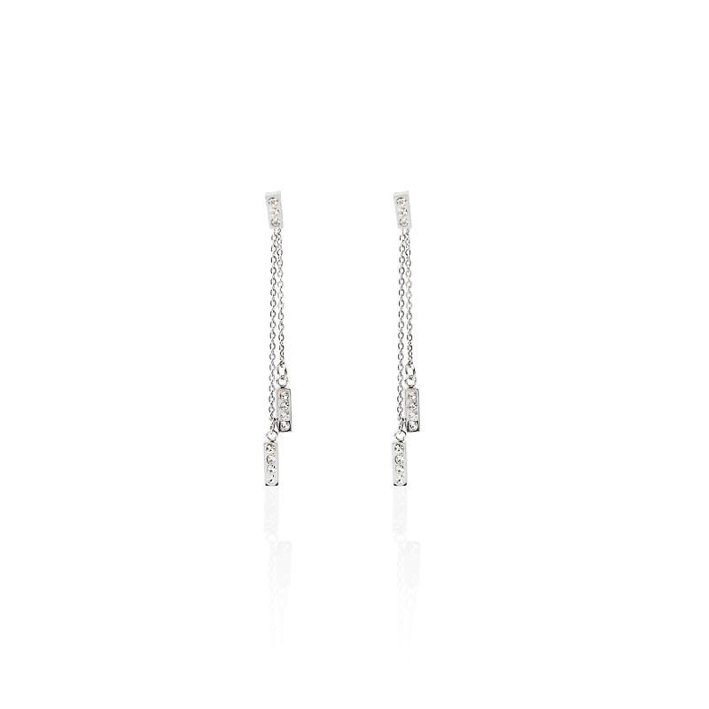Cubic Zirconia Steel Stick Earring