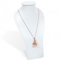 ROSE SILVER PENDENT WITH FLOWER BUTTERFLY AND CZ