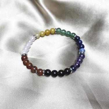 Bracelet 7chakra pierre naturelle et acier