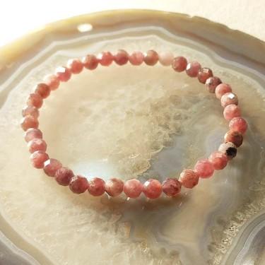 Bracelet pierre tourmaline rose facettée