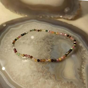 Bracelet pierre tourmaline facettée