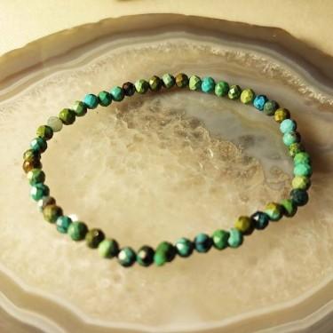 Bracelet pierre turquoise facettée