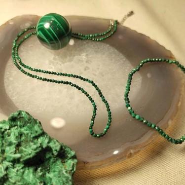 Bracelet malachite facettée