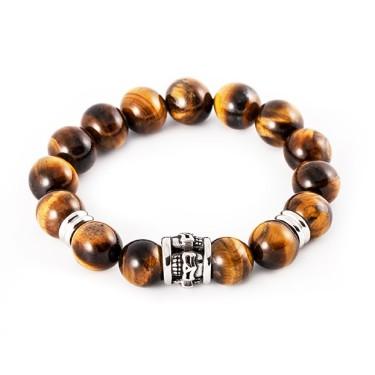 Bracelet homme pierre naturelle et acier