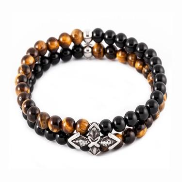 Bracelet double homme pierre naturelle et acier
