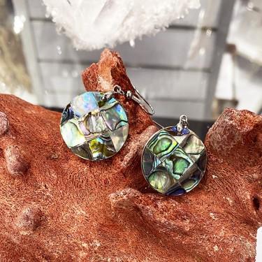 Boucles d'oreilles laiton et nacre abalone