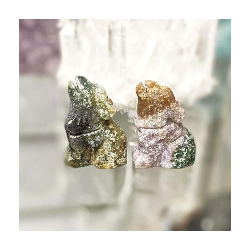 Animal objet décoratif en pierre agate mousse
