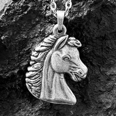 Pendentif acier inoxydable tête de cheval Effet argent vieilli