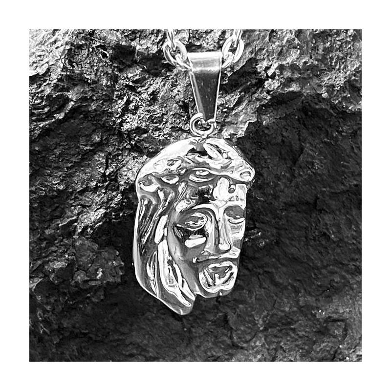 Pendentif acier inoxydable visage d'un homme