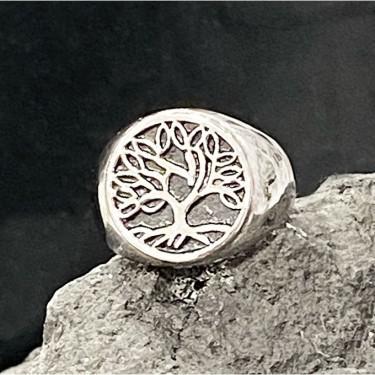 Bague chevalière acier inoxydable arbre de vie