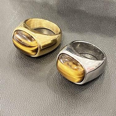 Bague acier dorée pierre l'oeil de tigre