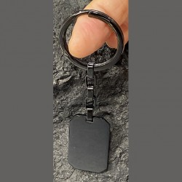Porte-clé en acier inoxydable noir