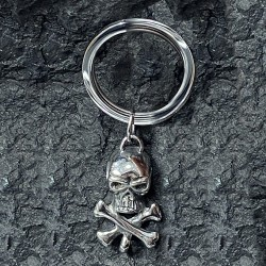 Porte-clé en acier inoxydable tête de mort