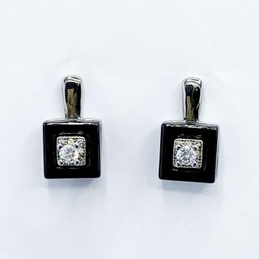 Bo argent rhodié céramique noir et oxyde zirconium 3.33g