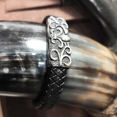 Bracelet  homme cuire et acier