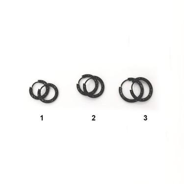 Boucles d'oreilles acier inoxydable noir créole à click
