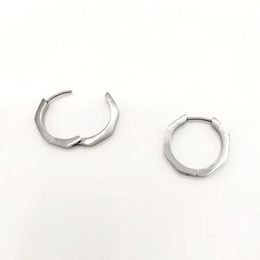 Boucles d'oreilles acier inoxydable Créole hexagone