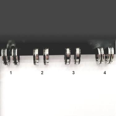 Boucles d'oreilles acier inoxydable Créole bicolores Noir