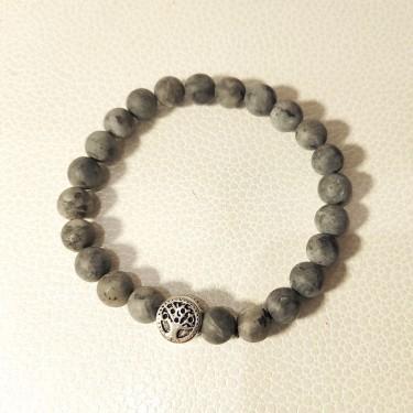 Bracelet homme pierre naturelle et acier   larvikite mate